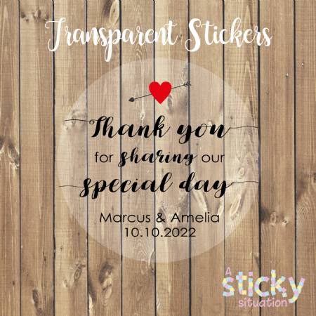 Personalised Transparent Wedding Stickers - Special Day Design